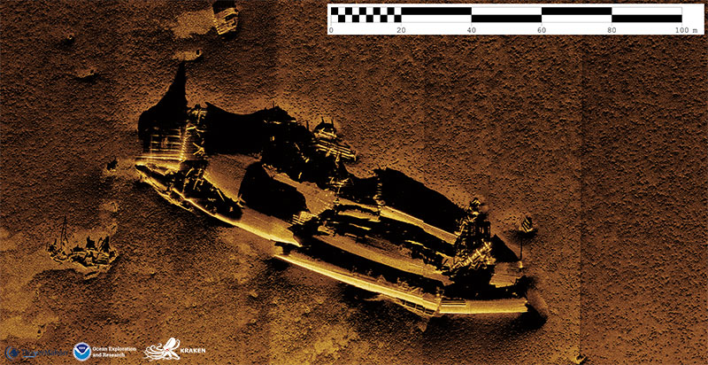 Synthetic aperture sonar image of an unknown shipwreck off of Nantucket.