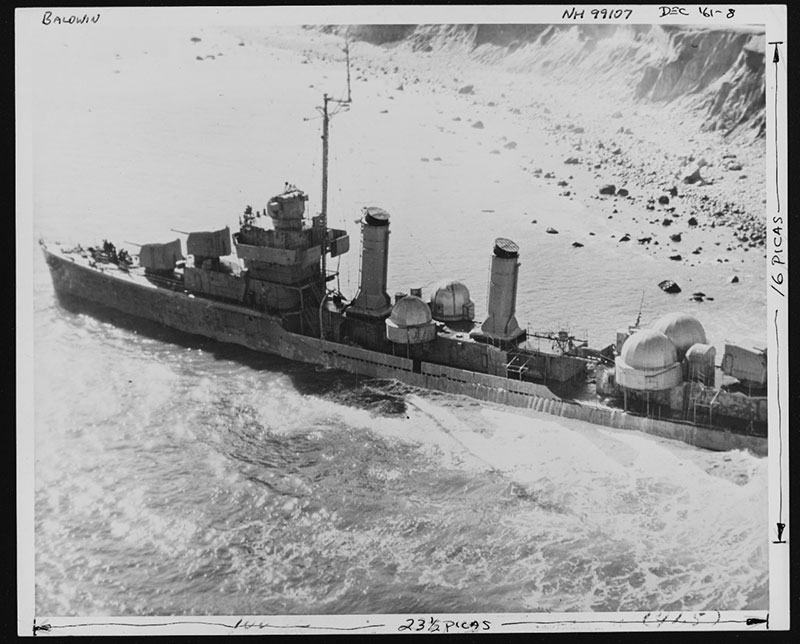 USS Baldwin aground near Montauk Point, Long Island.  Since the date this image was taken was so close to the date of scuttling, the onboard mission team, including the ROV pilots and scientists onshore through telepresence relied heavily on this photo to safely navigate the ROV dive on 27 July 2019.