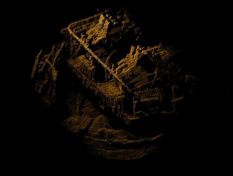 3D high resolution point cloud of the port after 40mm anti-aircraft Bofors gun bases, the barrel breaches were removed while in reserve status.  Laser scanning was completed from the starboard side of the Baldwin.