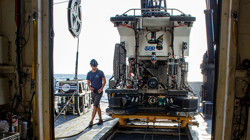 The remotely operated vehicle Deep Discoverer being prepared for launch during a dive for the Windows to the Deep 2018 expedition. Image courtesy of Art Howard, GFOE, Windows to the Deep 2018.
