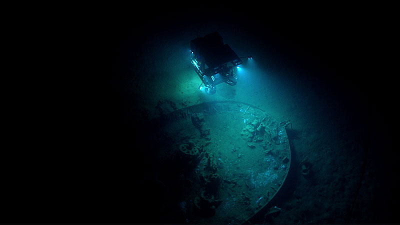 By illuminating Deep Discoverer from above, Seirios provides a broader perspective of things on the seafloor, such as this shipwreck in the Gulf of Mexico. Image courtesy of the NOAA Office of Ocean Exploration and Research, Gulf of Mexico 2017.